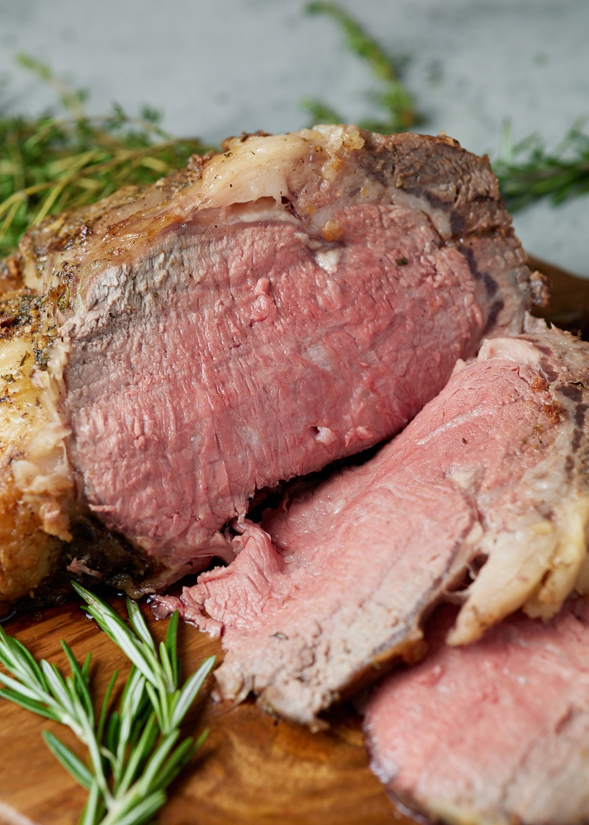 Slices cut off of the boneless roast beef.